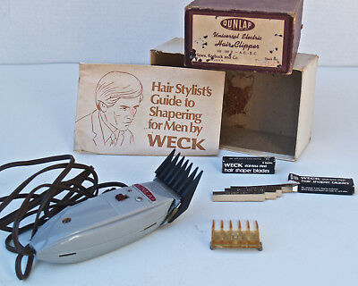 Dunlap Electric Hair Clipper Box Vintage  USA Bakelite works perfectly w/ EXTRAS