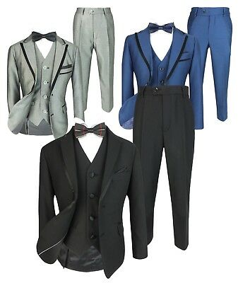 Page Boys Slim Fit Tuxedo Suit Kids Wedding Prom Party Formal Outfit by Romano