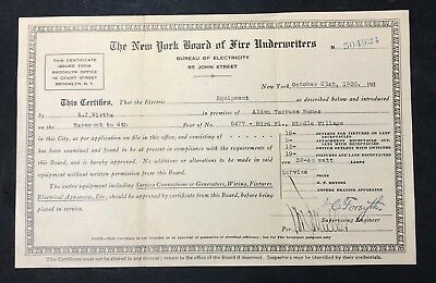 NEW YORK BOARD OF FIRE UNDERWRITERS  Electrical Certification - Brooklyn NY 1930