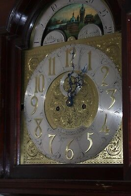 Grandfather Clock 8 day Mahogany Longcase with rolling moon face.