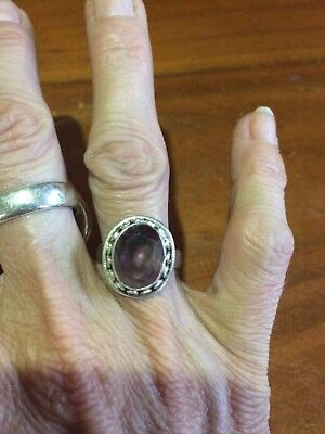 Genuine Sterling Silver 925 Amethyst Purple High Set Boho Scroll Ring Size 6.75