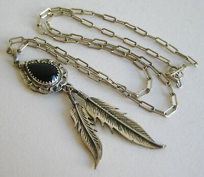 Vtg Navajo Indian Sterling Silver Albert Payton Onyx Feather Pendant Necklace