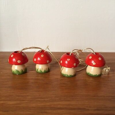 4 Vintage Wood Wooden Christmas Tree Ornaments Painted Redcap Mushrooms