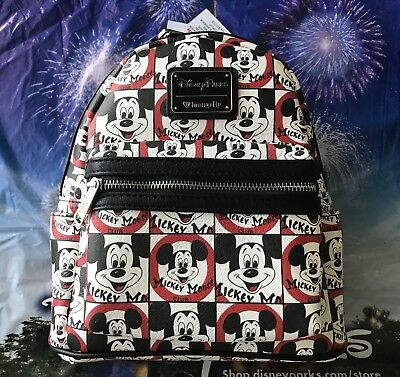 Disney Parks Loungefly Mickey Mouse Club Red Black White Mini Backpack NWT