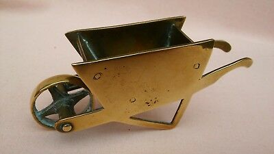 Antique Vintage Art Deco Miniature Brass Wheelbarrow Made In England By W&p,used