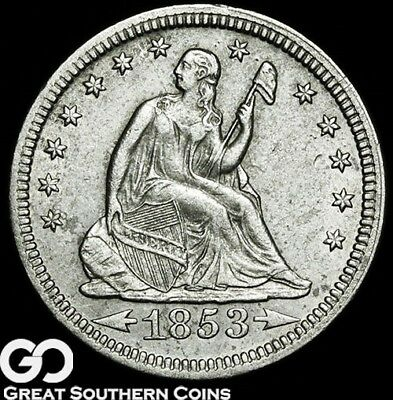 1853 Seated Liberty Quarter W/ Arrows & Rays, Tough AU++ Better Date!