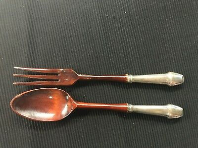 """FRENCH 1930-40's """"STERLING"""" HANDLE SERVING SET FORK AND SPOON OF WOOD"""