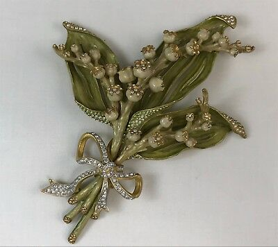 """Marvelous Jay Strongwater Jeweled & Enameled 8"""" Lily of the Valley Bouquet"""
