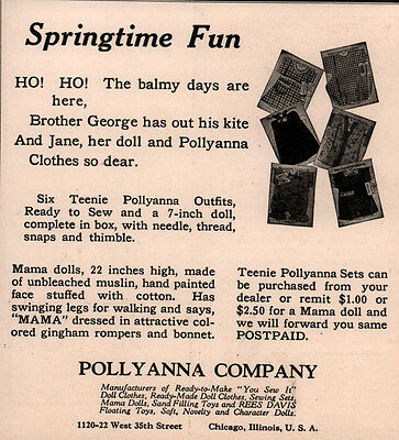 1923 Ad Pollyanna Co Poem 6 Teenie Outfits Ready To Sew With Doll Thread
