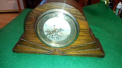 Stunning vintage wind up Art Deco Mantel Clock with fox hunting print to face