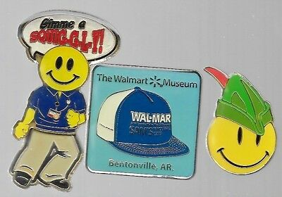 Walmart pins: Robin Hood; Museum Bentonville; Gimme a Squiggly w/moving legs