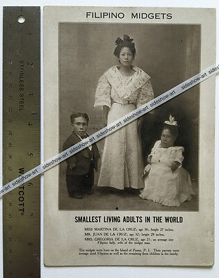 FILIPINO MIDGETS - Circus Sideshow Freaks - RARE GIANT Size Printed Pitch Card