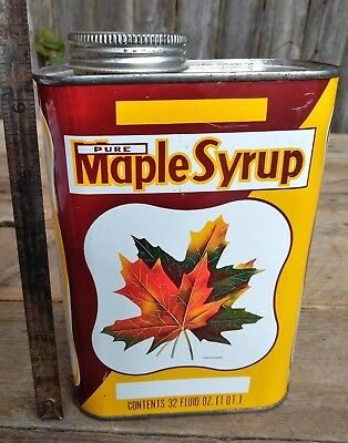Vintage Pure Maple Syrup 32oz 1qt Gift of the Indians Collectible Tin Leaf Fall