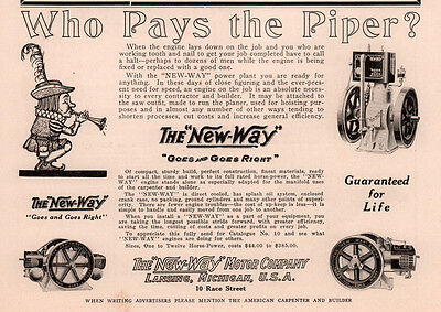 Ad Lot Of 2 1914 -15 Ad New Way Motor  Lansing  Engine Power Plant Pay The Piper