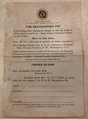 RARE ANTIQUE DAR DAUGHTERS of AMERICAN REVOLUTON RECOGNITION PIN ORDER FORM