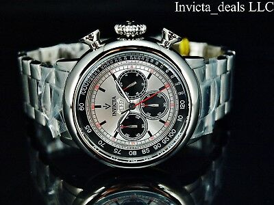 Invicta Mens 48mm Vintage Antique Silver Quartz Chronograph Silver Dial SS Watch