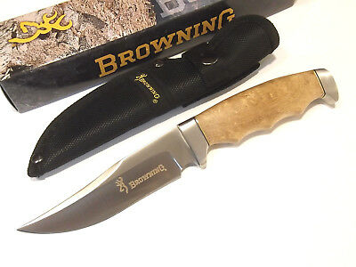 "Browning 537 Brown wood clip point fixed blade knife 9 1/2"" overall BR537 NEW!"