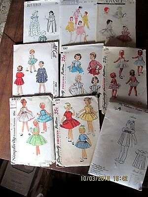 VINTAGE LOT OF NINE CUTE GIRL'S SIZE 4 SEWING PATTERNS Dress, Sleepwear, Slips