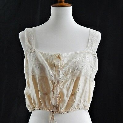 1890's Silk Corset Cover - Ribbon Embroidery - Silk & Cotton - Ribbons and Lace