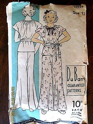 DuBarry Girls Size 12 Unmarked Pyjama Pattern (1395 B)