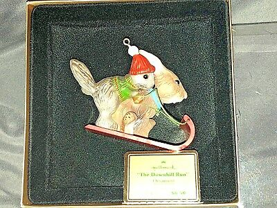 Hallmark The Downhill Run 1979 Sledding Tree Trimmer Christmas Ornament in Box