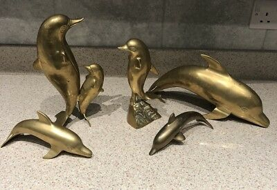 Vintage Brass Dolphin Statue - Lot Of 5 - Sculpture (pod) Large Heavy Aprox 2kg