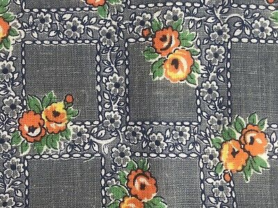 Vintage Flour Feedsack Fabric 37x12 Orange Cabbage Floral Gray Nave Blue Squared