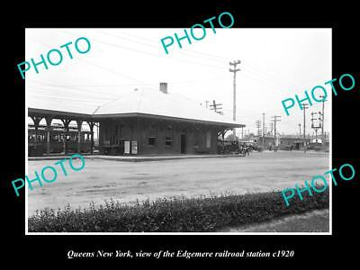 OLD LARGE HISTORIC PHOTO OF QUEENS NEW YORK, THE EDGMERE RAILROAD STATION c1920