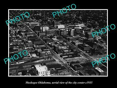 OLD LARGE HISTORIC PHOTO OF MUSKOGEE OKLAHOMA, AERIAL VIEW OF THE TOWN c1935