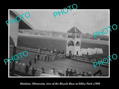 Old Large Historic Photo Of Mankato Minnesota, The Sibley Park Bicycle Race 1890