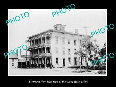 OLD LARGE HISTORIC PHOTO OF LIVERPOOL NEW YORK, VIEW OF THE GLOBE HOTEL c1900