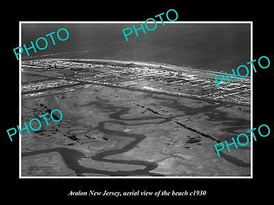 OLD LARGE HISTORIC PHOTO OF AVALON NEW JERSEY, AERIAL VIEW OF THE BEACH c1930 2