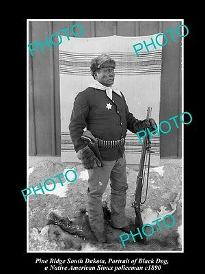 Old Historic Photo, Pine Ridge South Dakota, Sioux Indian Police, Black Dog 1890