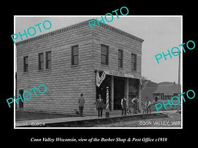 OLD LARGE HISTORIC PHOTO OF COON VALLEY WISCONSIN, THE PO & BARBER SHOP c1910