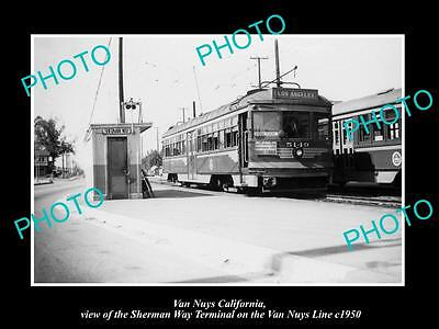 Old Large Historic Photo Of Van Nuys Ca, The Sw Pacific Electric Rail Depot 1950