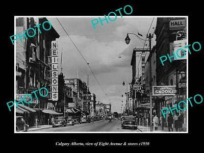 OLD LARGE HISTORIC PHOTO OF CALGARY ALBERTA CANADA VIEW OF 8th Ave & STORES 1950