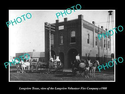 OLD LARGE HISTORIC PHOTO OF LONGVIEW TEXAS, THE FIRE DEPARTMENT STATION c1900