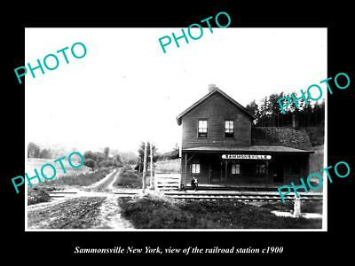OLD LARGE HISTORIC PHOTO OF SAMMONSVILLE  NEW YORK, THE RAILROAD STATION c1900
