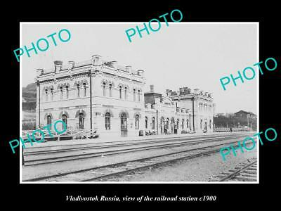 OLD LARGE HISTORIC PHOTO OF VLADIVOSTOK RUSSIA, VIEW OF RAILROAD STATION c1900