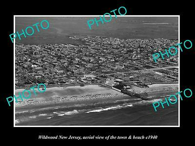 OLD LARGE HISTORIC PHOTO OF WILDWOOD NEW JERSEY, AERIAL VIEW OF TOWN c1940 1
