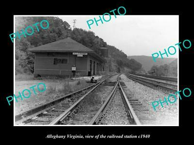 OLD LARGE HISTORIC PHOTO OF ALLEGHANY VIRGINIA, THE RAILROAD STATION c1940