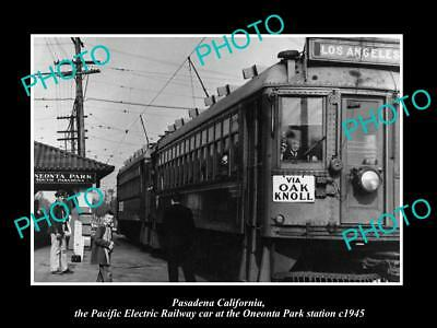 Old Large Historic Photo Of Pasadena Ca Pacific Electric O/p Railroad Depot 1945