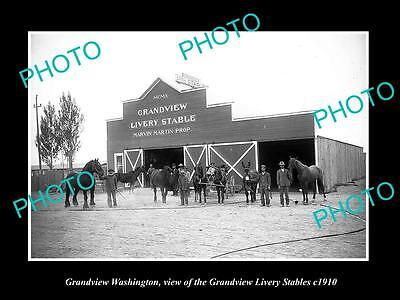 OLD LARGE HISTORIC PHOTO OF GRANDVIEW WASHINGTON, THE HORSER STABLES c1910