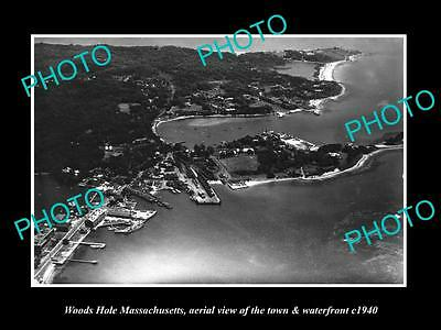OLD LARGE HISTORIC PHOTO OF WOODS HOLE MASSACHUSETTS AERIAL VIEW OF TOWN c1940 1