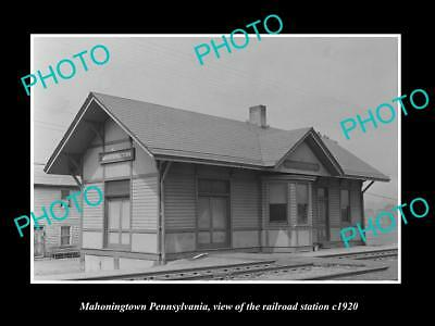 Old Large Historic Photo Of Mahoningtown Pennsylvania, The Railroad Station 1920