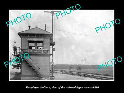OLD LARGE HISTORIC PHOTO OF DONALDSON INDIANA, THE RAILROAD DEPOT TOWER c1910