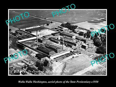 OLD LARGE HISTORIC PHOTO OF WALLA WALLA WASHINGTON, THE STATE PENITENTIARY c1950