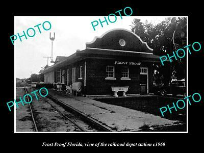 Old Large Historic Photo Of Frost Proof Florida, The Railroad Depot Station 1960