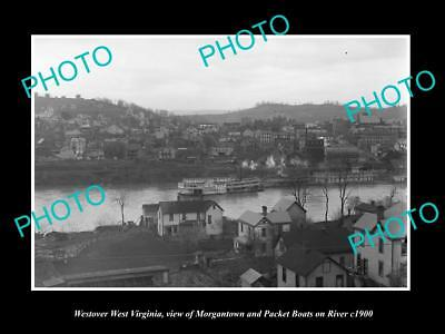 OLD LARGE HISTORIC PHOTO OF WESTOVER WEST VIRGINIA, BOATS ON THE RIVER c1900