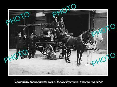OLD HISTORIC PHOTO OF SPRINGFIELD MASSACHUSETTS, THE FIRE DEPARTMENT WAGON c1900